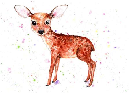 Fawn Watercolor illustration. A delicate little fawn. Beautiful, children's illustration. Illustration for design, decor. Stock Illustration - 125839153