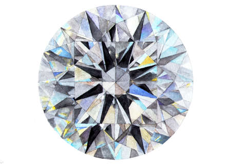 Diamond Brilliant. Watercolor illustration. A jewel, a diamond drawn by hands. Illustration for design, decor.