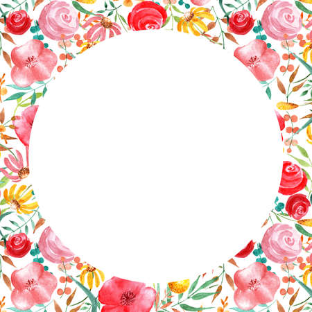 Pattern with flowers and herbs. Watercolor illustration. The layout for the labels on cosmetics products. In the center there is a place to write the text. Stock Photo