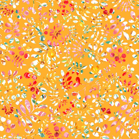 Gold background with white flowers. Watercolor illustration. Seamless design, drawn Botanical pattern. Floral fashion, textile design. Illustration for printing.