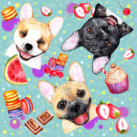 Cute pattern with dogs on blue background. Watercolor illustration.Stylish seamless pattern with bulldogs on blue background. Fashionable printing. Sweet dessert background. Stock Photo