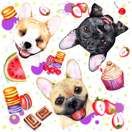 Cute pattern with dogs on white background. Watercolor illustration.Beautiful seamless pattern with bulldogs on white background. Fashionable printing. Sweet dessert background.