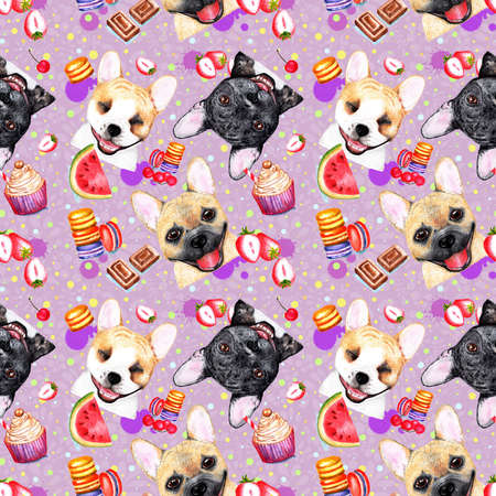 Cute pattern with dogs on pink background. Watercolor illustration. Bulldogs on pink, lilac background. Fashionable printing. Sweet dessert background.