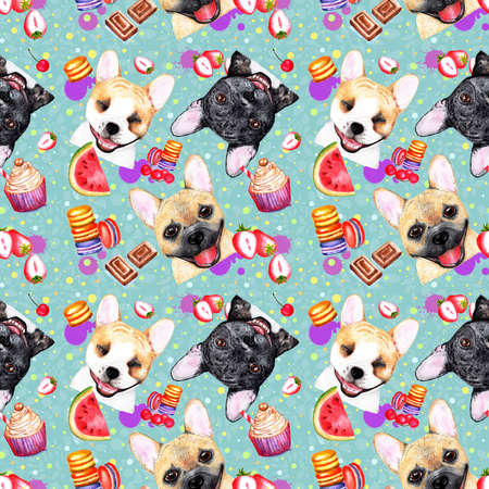 Cute pattern with dogs on blue background. Watercolor illustration. Bulldogs on blue background. Fashionable printing. Sweet dessert background. Stock Photo