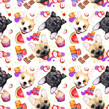 Cute pattern with dogs on white background. Watercolor illustration. French bulldogs on white background. Fashionable printing. Sweet dessert background.