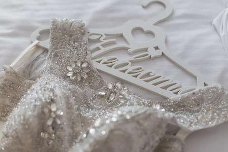 wedding dress with hanger background.