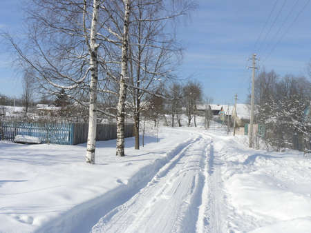 coldly: Snowy road Stock Photo