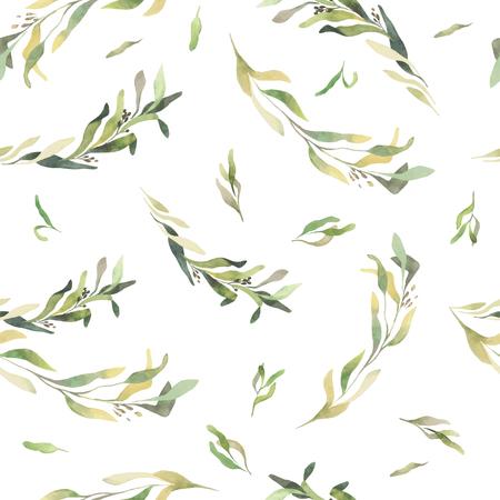 Muster von Blumen und Gräser gemalt mit Aquarellen auf gelbem Hintergrund. Vektor
