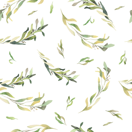 Pattern of flowers and grasses painted with watercolors on yellow background. Vector