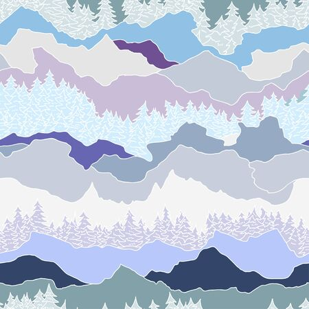 seamless pattern with trees and mountains
