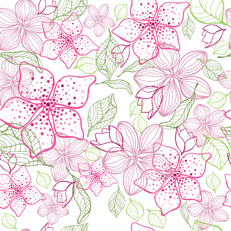 Elegant flower seamless background. Hand drawn vector illustration