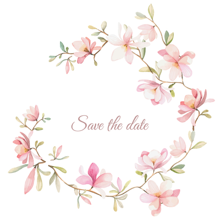 wreath of flowers in watercolor style on white background