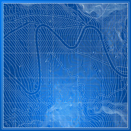 Vector Blueprint Abstract Topographic Map Illustration
