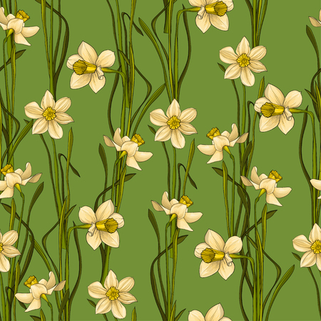 Elegance Seamless pattern with flowers daffodils, vector floral illustration in vintage style. Green background Иллюстрация