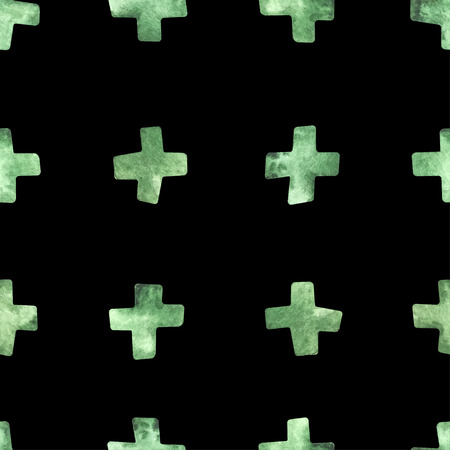 Seamless watercolor pattern with crosses black background