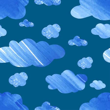 cloud: Pattern with watercolor clouds.