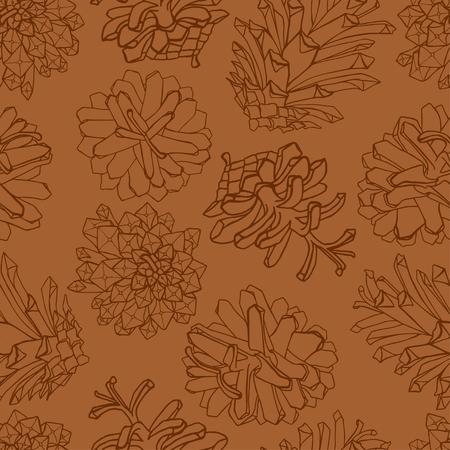 Hand drawn pine cones design pattern.