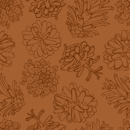 Hand drawn pine cones design pattern.