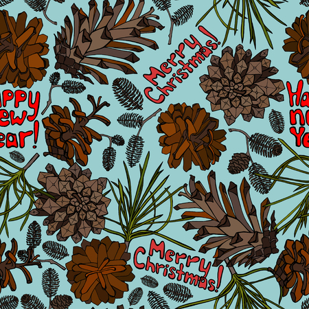 ranger: Hand drawn vector illustrations. Seamless pattern with pine cones. Forest endless background. Illustration