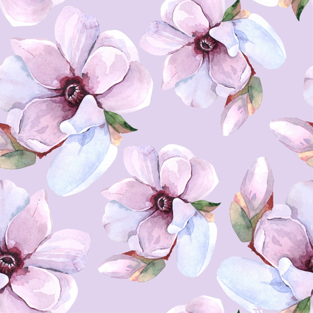 Seamless watercolor romantic floral pattern