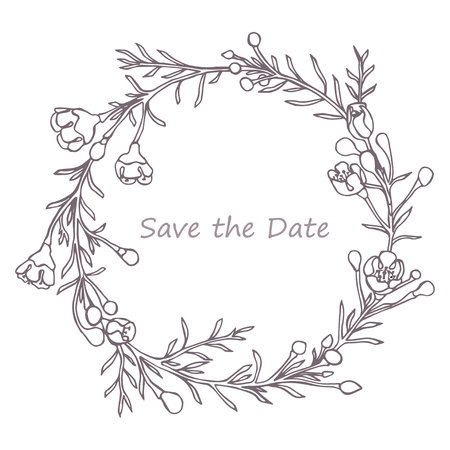 Wreath made in vector. Unique decoration for greeting card, wedding invitation, save the date.