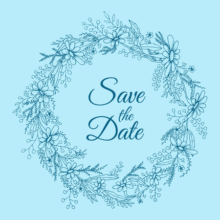 Handdrawn wreath made in vector. Unique decoration for greeting card, wedding invitation, save the date. Summer flowers with space for your text.
