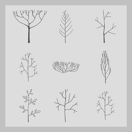 Collection of tree icon with gray background illustration. Ilustrace