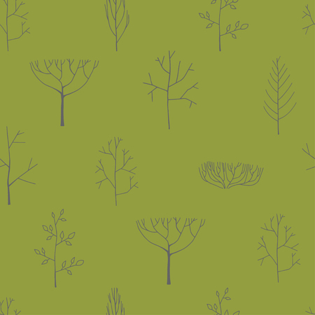 Seamless pattern with trees, hand drawn illustration.