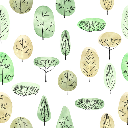 Watercolor trees seamless pattern on white background Ilustrace