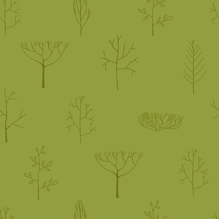 Seamless pattern with trees, hand drawn illustration Ilustrace