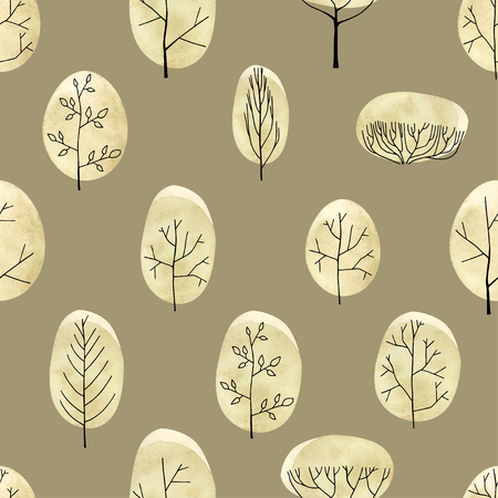 Watercolor trees seamless pattern on begie background