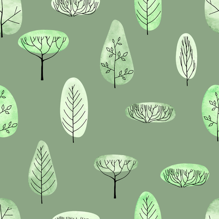 Watercolor trees seamless pattern on green background