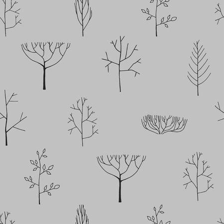 Seamless pattern with trees hand drawn illustration Ilustrace