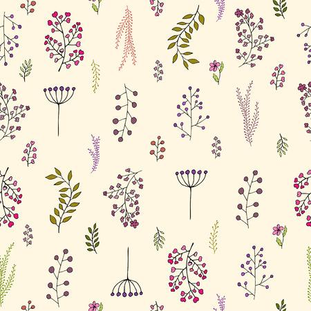 Vector vintage seamless floral pattern illustration.
