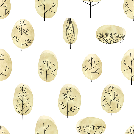 Watercolor vector trees seamless pattern on white background