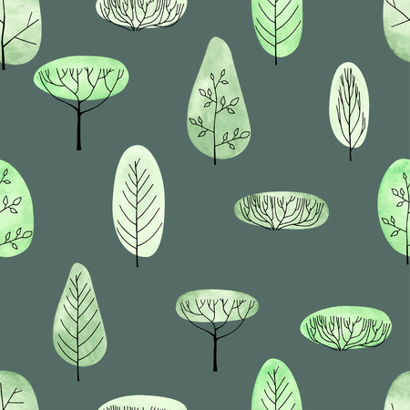 Watercolor vector trees seamless pattern on green background