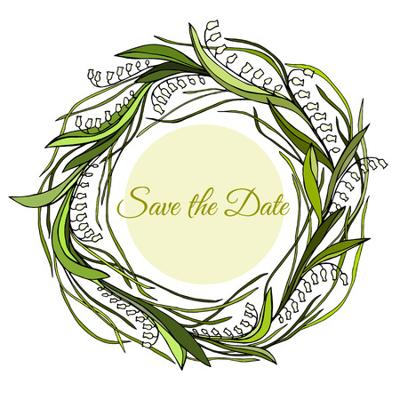 Handdrawn wreath made in vector. Unique decoration for greeting card, wedding invitation, save the date. Ilustrace