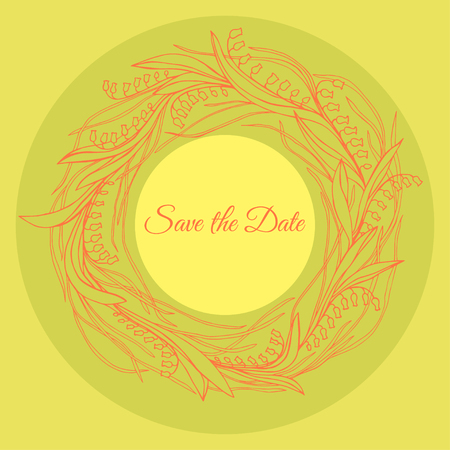 Hand drawn wreath made in vector. Unique decoration for greeting card, wedding invitation, save the date. Ilustrace