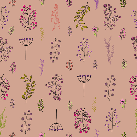 Vintage floral pattern of Herbs and wild flowers Ilustrace