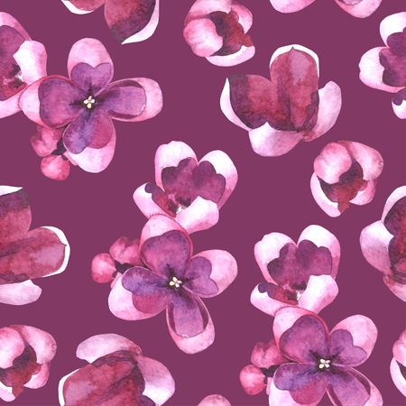 Purple Lilac flowers and petals watercolor style vector seamless pattern