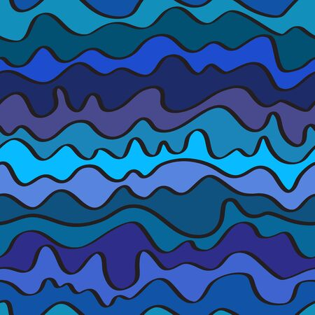 seamless positive vector of wavy lines, colorful print for girls and boys, abstract liquid pattern, bright background of curves