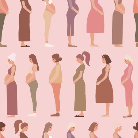 Pregnancy motherhood people expectation seamless pattern background Ilustrace