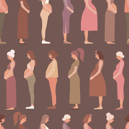 Pregnancy motherhood people expectation seamless pattern background 向量圖像