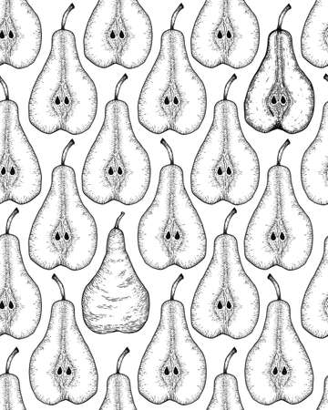 Hand drawn seamless pattern with sliced pear and leaves. Engraved design elements
