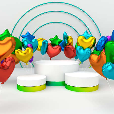 3d illustration Cylinder podiums with rainbow air balloons. Abstract colorfull schene, showcase, display case. High quality photo