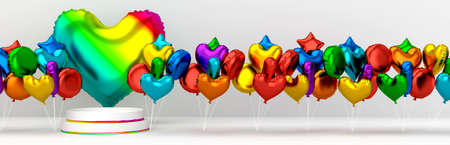 Podium for product with colorfull rainbow helium ballons in heart shape. Valentine's day banner. 3d illustration great for birthday, love and romantic postcard. ... High quality photo