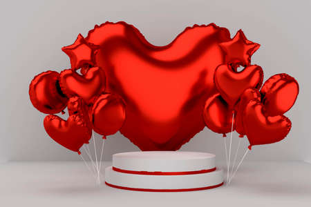 Podium for product with colorfull red helium ballons in heart, star shape. Valentine's day banner. 3d illustration great for birthday, love and romantic postcard. ... High quality photo