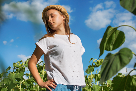 Young girl relaxes in the sun