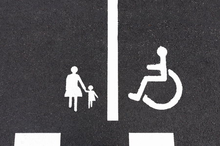 Handicapped and family parking spaces. Reklamní fotografie