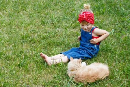 Little girl playing with a red cat on a sunny day. Copy space.